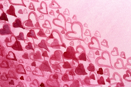 Pink Hearts Watercolor Design 5 photo