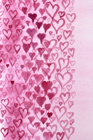 Pink Hearts Watercolor Design 1 photo