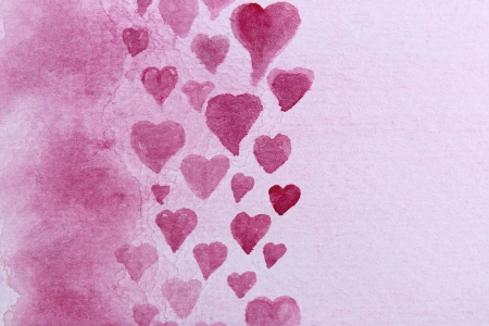 Pink Watercolor Hearts Design 1 photo