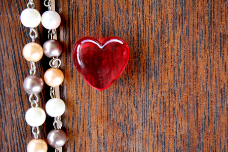 merbau: Red Glass Heart on Merbau Timber with pearls