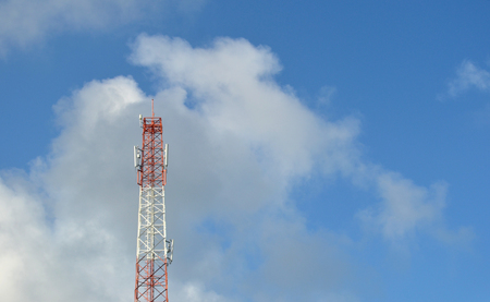 Telecommunication Tower and the Blue Sky Stock Photo