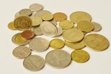 five cents: Pile of old coins of different countries and different nominals
