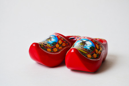 clogs: A pair of red souvenir clogs brought from Holland