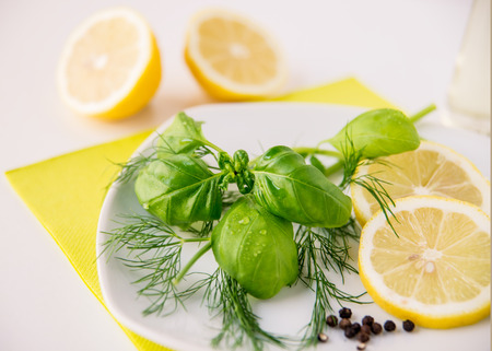 peppercorns: Ingredients for lemon-dill-basil dressing with peppercorns