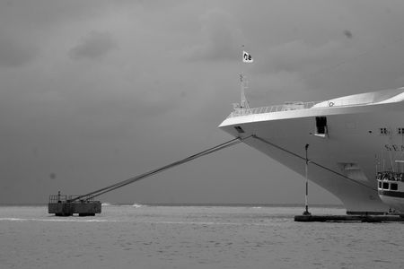 bw: Liner moored