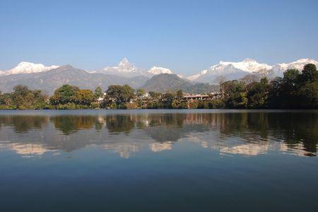 pokhara: Phewa Lake in Pokhara Nepal reflecting the Himalayans