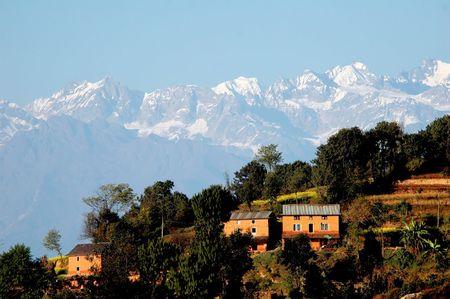 himalayas: Nagarkot with the Himalayas in the background, near Kathmandu Stock Photo
