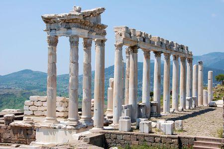 idolatry: ruins of the Trajan temple in Pergamos Stock Photo