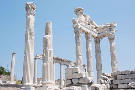 idolatry: Trajan temple in ancient Pergamos Stock Photo