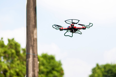 remote controlled: Remote Controlled Quadcopter Drone Stock Photo