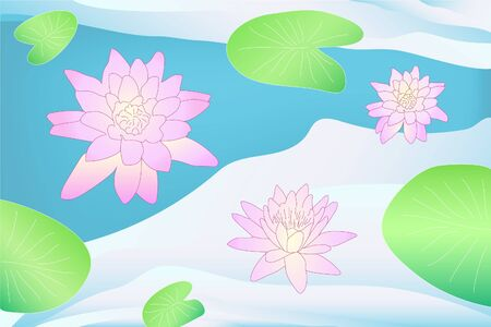 Colorful vector art pink lotus flowers on the water with green leaves with blue gradient background. Peaceful romantic cute flowers in the pond drawing.