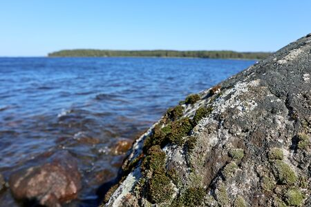 Stone with colored moss close up on beautiful blue water lake in Finland with bright sunny clear sky