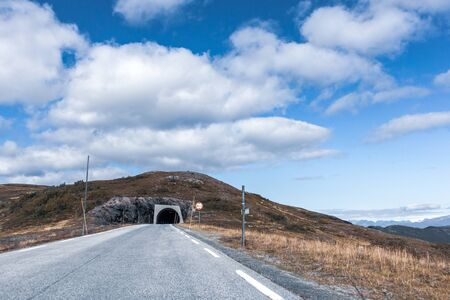 Tunnel on mountain road, drive highway in Norway