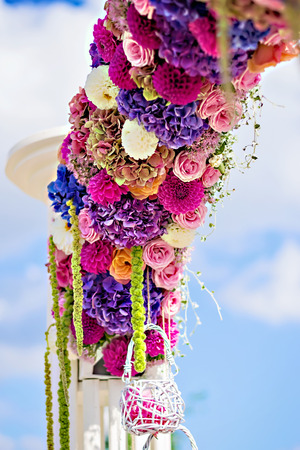 natural arch: Flower wedding arch with dahlias, cloves and roses