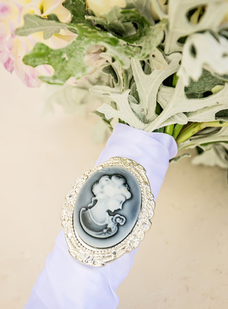 cameo: Cameo on bridal bouquet