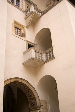 arcs: Architectural composition with balconies, arcs, windows and columns