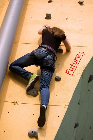 strive for: A girl climbing persistently to her future