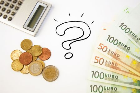 Saving money concept illustrated by question mark, calculator & euro Stock Photo - 5534957