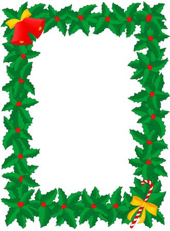 candy stick: Illustration of Christmas frame of holly with berries, bells & candy stick, isolated on a white background Stock Photo