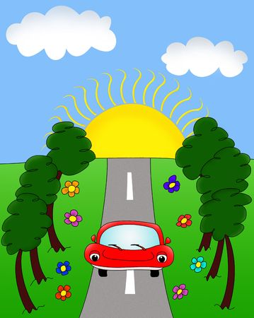 Red car driving along the highway at dawn, illustration Stock Illustration - 6101666