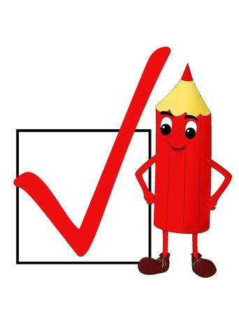 face off: Smiling red pencil & a check box isolated on white, illustration Stock Photo