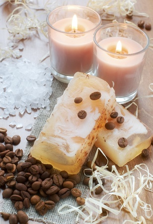 handmade soap: Natural hand-made soap, aromatic bath salt, candles and coffee beans Stock Photo