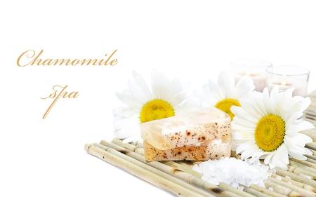 handmade soap: Chamomile spa: hand-made soap, chamomiles, bath salt and candles