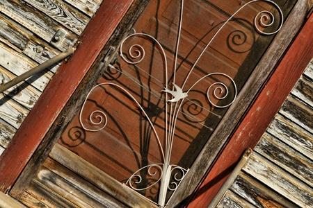 belle:     Historic Belle Mina Alabama Train Depot Wrought Iron Door Stock Photo