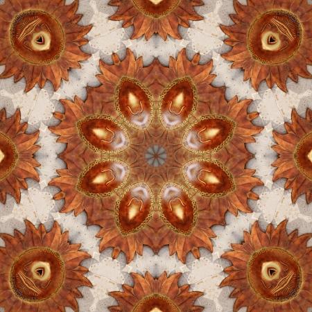 Golden Mexico Sol Kaleidoscope Medallion Tile 2