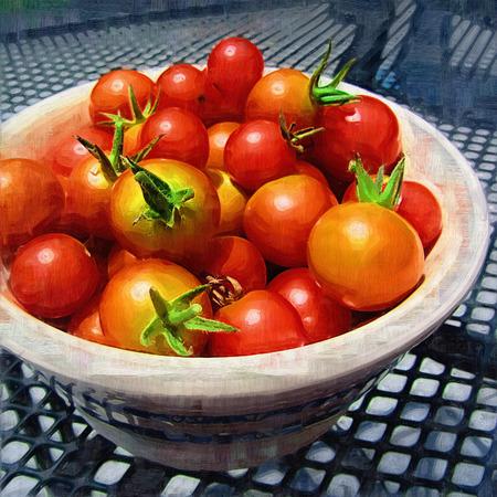 赤い完熟チェリー トマトのペイント ボール 写真素材