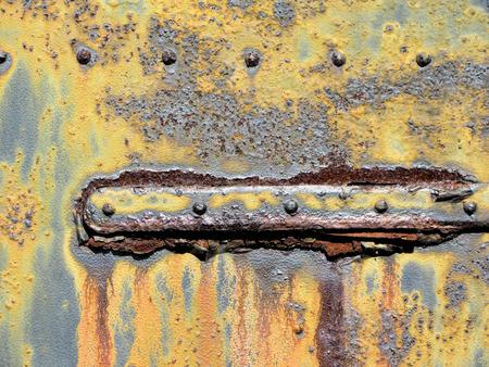 metal door: Rusty Old Grungy Metal Door Hinge Stock Photo