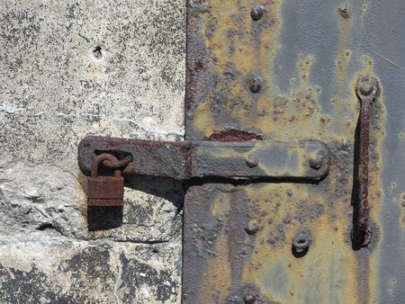 bracket: Antique Metal Door Locking Bracket and Lock 2