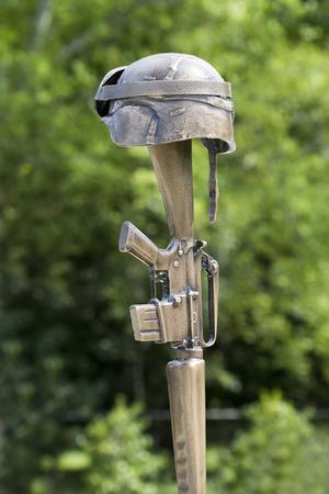 Soldier Helmet and Rifle Memorial