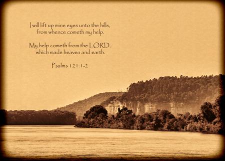 Paisaje de la naturaleza salmos del verso Foto de archivo - 61091323
