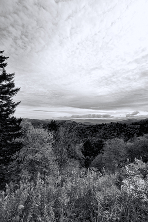 Cloudy Sky Over Smoky Mountain National Forest Black and White Stock Photo