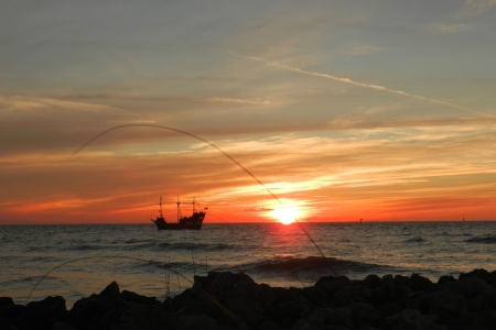 Pirate Ship at Sunset op Clearwater Beach Stockfoto