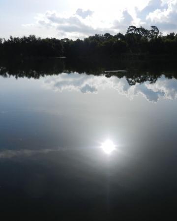 Ochtend zon weerspiegeld in Florida meer