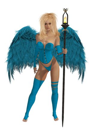elohim: Baby blue angel with blonde hair standing holding a torch Stock Photo