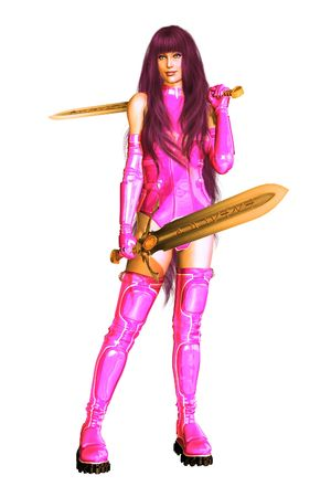 femme fatale: Sci fi femme fatale holding two swords in baby pink outfit