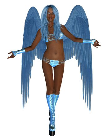 elohim: African blue angel, standing with arms open
