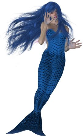 Blue haired and tailed mermaid swimming photo