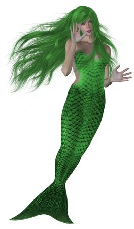 nymphet: Green haired and tailed mermaid swimming