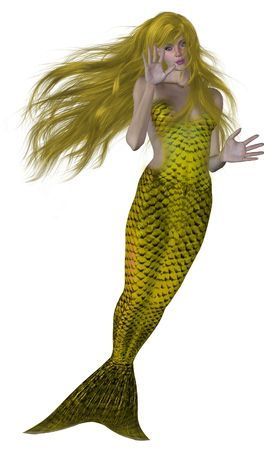 Yellow haired and tailed mermaid swimming photo