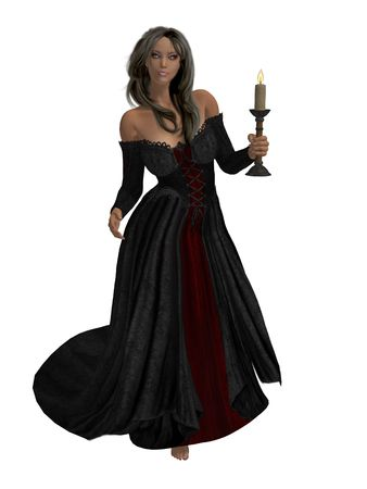 matron: Woman dressed in a gown holding a candle