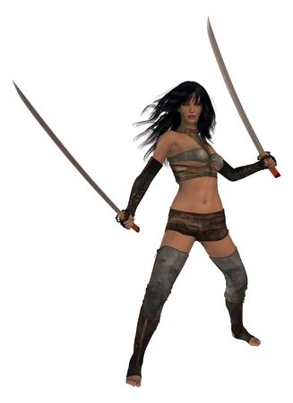 Woman standing holding two swords