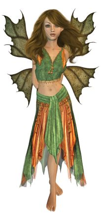 Green and orange fairy standing up photo