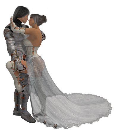 Ridder in glimmende harnassen met zijn koningin