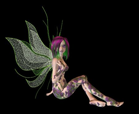 Purple green flower fairy sitting Standard-Bild