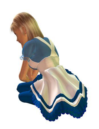 alice au pays des merveilles: Alice au pays des merveilles assis