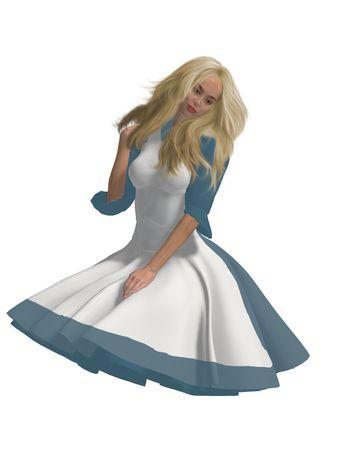 Alice in wonderland sitting down